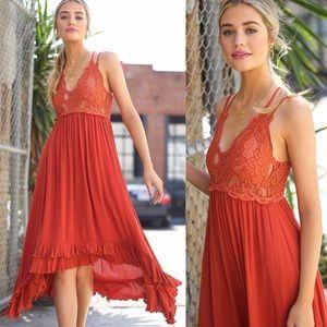 ❤️ MOST LOVED! Marsala Boho Lace Ruffle Hem Dress